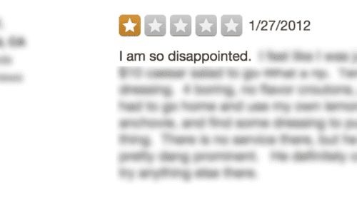 bad yelp review copy